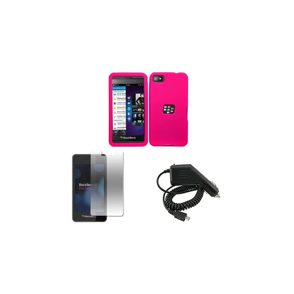 iFase Brand Blackberry Laguna Z10 Combo Solid Hot Pink Silicon Skin Case Faceplate Cover + LCD Screen Protector + Rapid Car Charger for Blackberry Laguna Z10 Cell Phones & Accessories