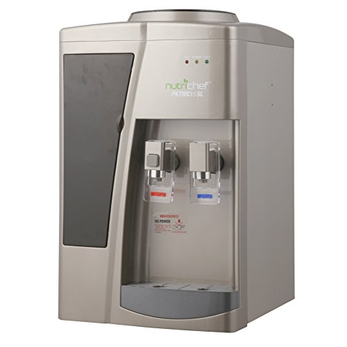 Nutrichef Countertop Compressor Water Cooler Dispenser - Hot & Cold Water, with Child Safety Lock. (PKTWC15SL) by NutriChef