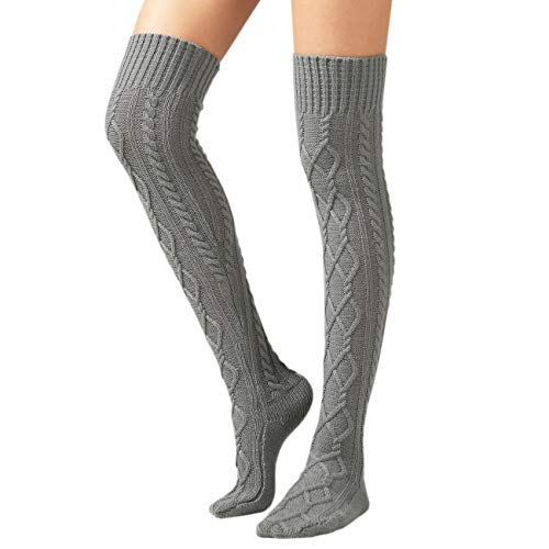 SherryDC Women's Cable Knit Boot Stockings Extra Long Thigh High Leg Warmers Winter Floor Socks Grey