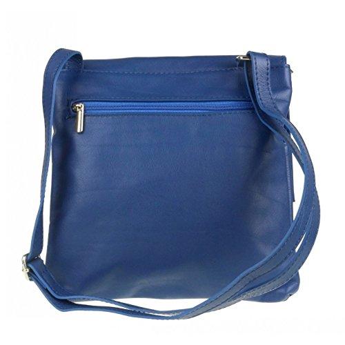 Leather Italian Genuine Royal Blue Handbag Pocket Pelle Cross Leather Bag Body Shoulder Bag Vera Double or 515gr