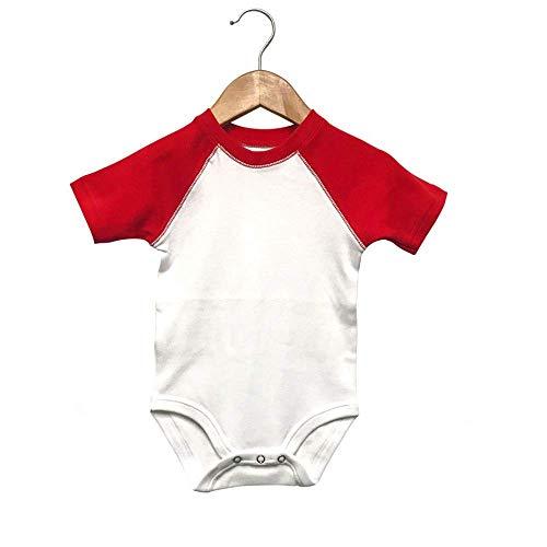 Laughing Giraffe Baby Short Sleeve Raglan Baseball Onesie Bodysuit (12-18M, White/Red)