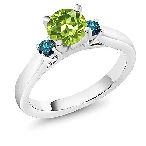 1.05 Ct Round Green Peridot Blue Diamond 925 Sterling Silver 3-Stone Ring - Sterling Silver Diamond Antique Ring