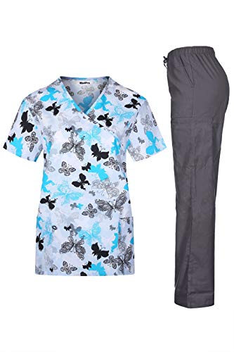 (MedPro Women's Printed Medical Scrub Set Mock Wrap Top and Pants White S)