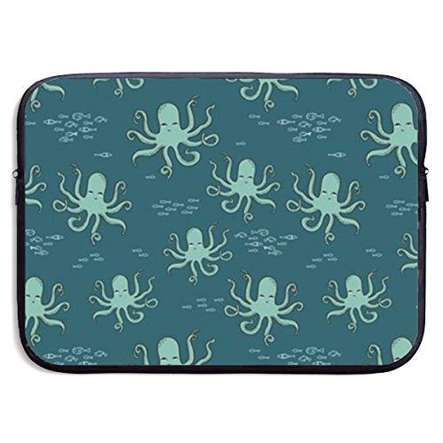 TnsiOawnmq Octopus Ocean Fish Kids Nautical Ocean 13-15 Inch Laptop Sleeve Bag - Briefcase Sleeve Bags Cover for MacBook Pro/Notebook,Water Resistant, Black