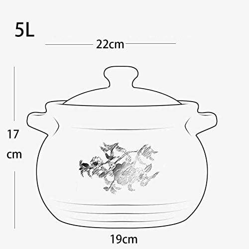 LIUSHI Casserole en céramique résistante à la Chaleur Casserole en Argile Noire , avec Couvercle , Résistance aux Hautes températures, 5L