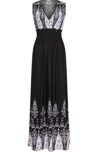 07659c81bac8d g2 chic. 2LUV Women s Sleeveless Knotted V-Neck Tropical Summer Maxi Dress  Black S