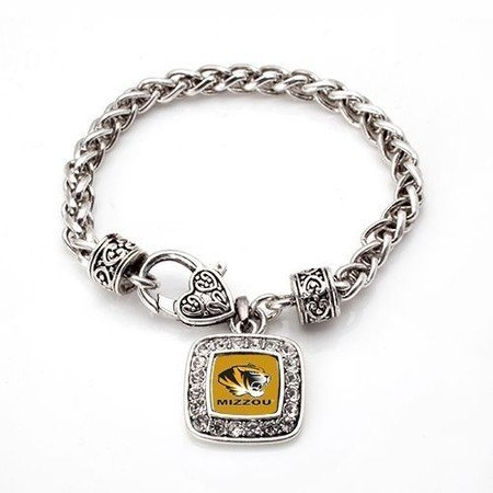 Missouri Tigers Classic Silver Plated Square Crystal Charm Bracelet