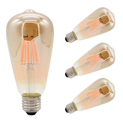 Packs of 4, Vintage Edison Bulbs LED Filament Light E27 8W ST64 Non-dimmable 80W Equivalent AC85-265V