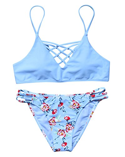 5ad8ccf13fb5b MOSHENGQI Women Criss Cross Swimsuits Top Floral Bottom 2 Piece Bathing  Suits (M(US