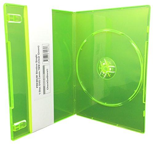 - (12) CheckOutStore PREMIUM Slimline Single 1-Disc DVD Cases 7mm (Clear Green)