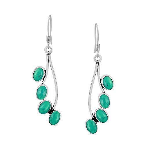 Natural Turquoise Earrings 925 Silver Overlay handmade Dangle Earrings for women