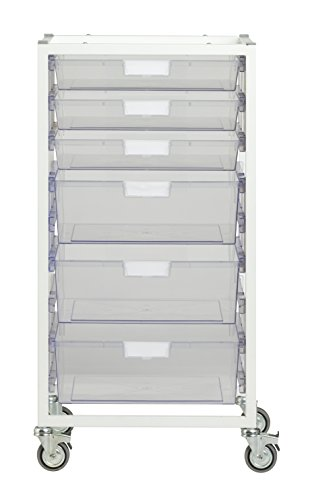 StorSystemUSA CE2301WCL 6 Tray Nimble II Tower Crystal 'Wide Line' Metal Cart, Clear by StorSystemUSA