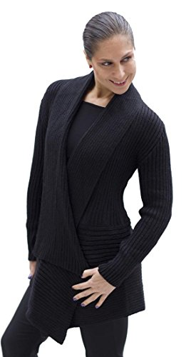 (Women's Soft Alpaca Wool Knitted Cardigan Open Coat Sweater Size M (Black))