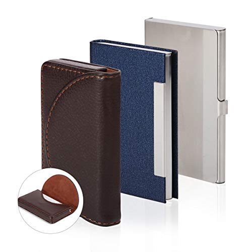 Hotyin Business Card Holder - 3 Pack Luxury Leather Business Card Holder Wallet & Stainless SteelBusiness Card Holder Case with Magnetic Closure, Wallet Credit Card ID Case/Holder for Men & Women