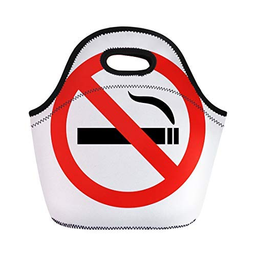 Vontuxe Insulated Lunch Tote Bag Red Smoke No Smoking Sign Not Danger Cigar Allowed Outdoor Picnic Food Handbag Lunch Box for Men Women Children