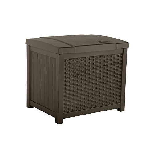 Suncast 22 Gallon Resin Storage Box - Contemporary Indoor and Outdoor Bin Stores Tools, Toys, and Accessories - Mocha Wicker (Seat Outdoor Square Cushions D)