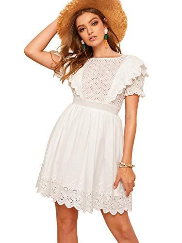 Romwe Women's Elegant Ruffle Trim Eyelet Embroidered V Neck Wrap Short Dress #White - Eyelet Out Cut