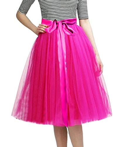 CahcyElilk Knee Length Tulle Skirt Midi Fuchsia Tutu Tulle Prom Princess Party Dance Skirt with Belt Fuchsia Large -