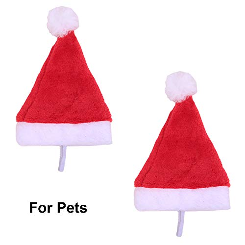 Plush Santa Hats Christmas Red Hat Merry Christmas Caps Unisex Velvet Deluxe Headpiece Headdress Luxury Cosplay Costume Holiday Party Decorations Comfort Liner Soft Hats Hair Accessories 2 Pack Pets