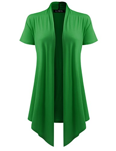 All for You Women's Soft Drape Cardigan Short Sleeve Green XX-Large