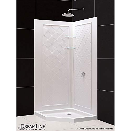 Neo Angle Shower Unit - DreamLine 36 in. x 36 in. x 76 3/4 in. H Neo-Angle Shower Base and QWALL-4 Acrylic Corner Backwall Kit in White, DL-6044C-01