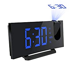 Mpow 5 Projection Alarm Clock, FM Radio Alarm Clock with Dual Alarm, Digital Clock with 3 Dimmer Display for Bedroom, Ceiling, USB Charging Port, Backup Battery for Setting (Black-Blue)