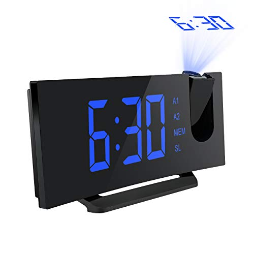 "Mpow 5"" Projection Alarm Clock, FM Radio Alarm Clock with Dual Alarm, Digital Clock with 3 Dimmer Display for Bedroom, Ceiling, USB Charging Port, Backup Battery for Setting (Black-Blue)"