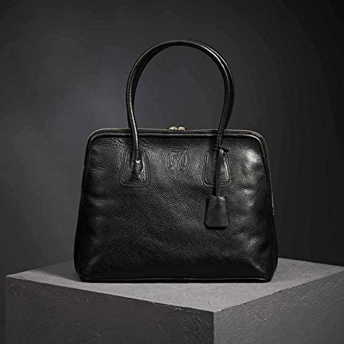 Top-Closed Solid Handbag Made in Turkey Bold Large Leather Satchel for Women