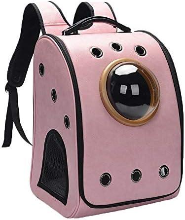 AXRXMA 新しいファッション大容量ペット犬ペット猫ペットトロリーバッグポータブル大容量ペットスペースカプセル (Color : Pink, Size : Backpack)
