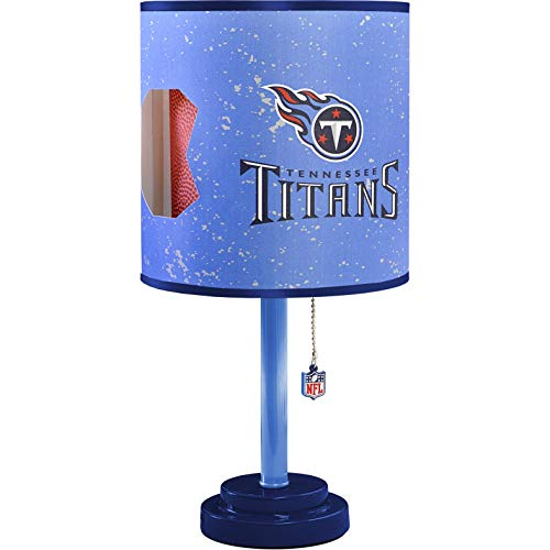 - MISC NFL Tennessee Titans Table Lamp Large, 18 Inch Desk Lamp with Shade Sports Pattern Cute Football Themed Nightstand Lamp Team Logo for Fan Team Spirit Blue, MDF Plastic