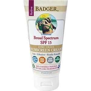 Badger Balm Zinc Oxide Sunscreen Cream SPF 15, 2.9 Fluid Ounce