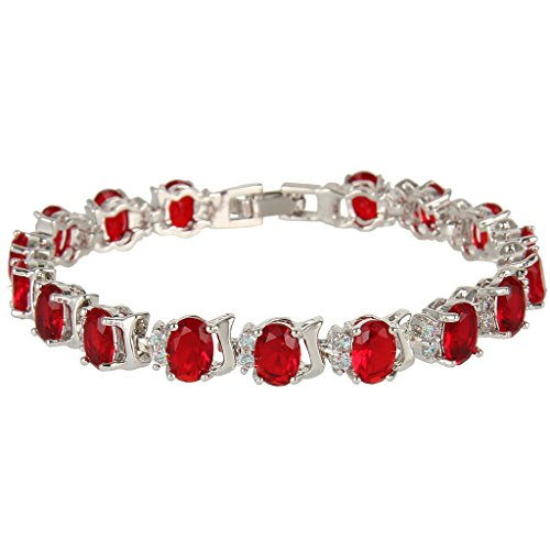 EVER FAITH Silver-Tone Full Zircon Oval Roman Tennis Bracelet Red Ruby-color (Roman Head Wear)