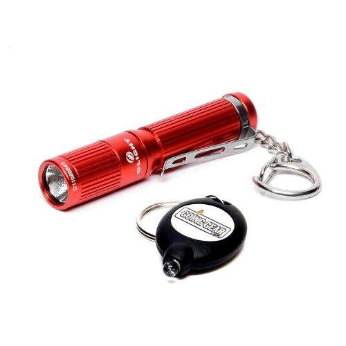 Olight i3S EOS 80 Lumen XP-G2 AAA LED Flashlight-Red and GoingGear LED Flashlight Keychain