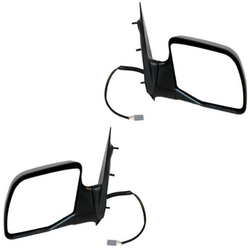 1994-2006 Ford Econoline Van E150, E250 E350 & Club Wagon Models Power Non-Heated Without Puddle Light/Lamp Black Textured Folding (One Piece Glass) Paddle Type Rear View Mirror Pair Set: Right Passenger AND Left Driver Side (94 1994 95 1995 96 1996 97 1997 98 1998 99 1999 00 2000 01 2001 02 2002 03 2003 04 2004 05 2005 06 2006)