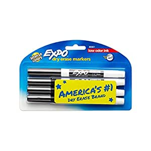 EXPO Low-Odor Dry Erase Markers, Fine Point, Black, 4-Count
