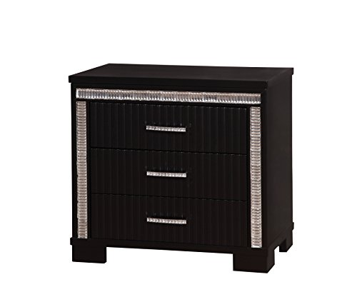 HOMES: Inside + Out ioHOMES Fenti Fluted Panel 3-Drawer Nightstand, Black
