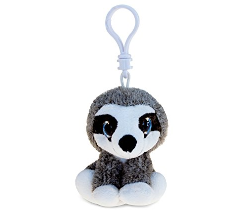 Puzzled Plush Keychain Soft Sloth Stuffed Toy Big-Eye Animal Accessory Backpack Clip Holder Purse, Backpack, Bags, Handbags Decorative Squishy Children Novelty Fashion Collection - Gray &Amp; White, 6&Quot; -