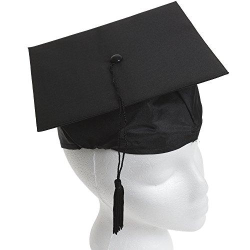 (U.S. Toy Children's Child Size Adjustable Elastic Band Black Graduation Cap Hat with)