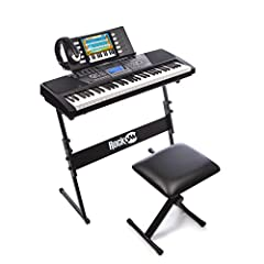The RockJam 561 Super Kit includes a 61-key keyboard, a stand, a padded stool, and a pair of high quality headphones. It addition, the super kit comes with 30 Simply Piano songs to be downloaded on your iPhone, iPad or Android device that wil...