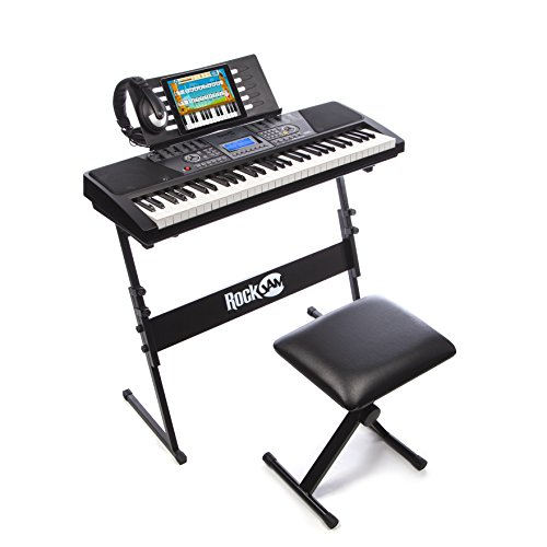 RockJam 61-Key Electronic Keyboard Piano SuperKit with Stand, Stool, Headphones & Power Supply, Black - RJ561