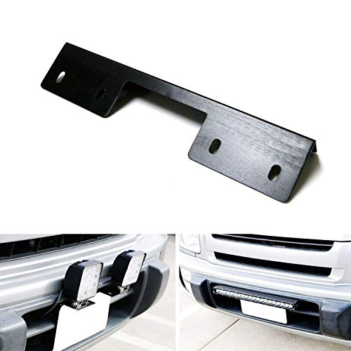 iJDMTOY Miniature Front Bumper License Plate Mount Bracket Holder For Off-Road Lights, LED Work Lamps, LED Lighting Bars, etc (Black Finish) (2005 Ford Explorer Front License Plate Bracket)