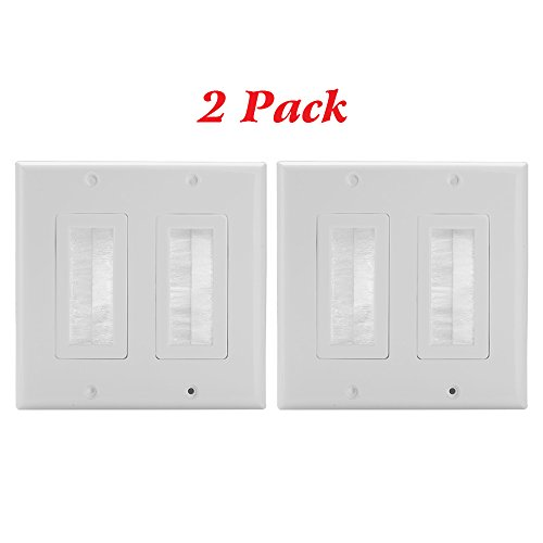 ang Brush Wall Plate, Cable Pass Through Insert Switch Device Mount Decorative Wall Plate for Home Installations HDTV HDMI Home Theater Systems (White) (Dual Gang White Decorator)