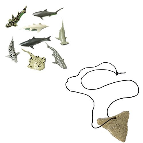 Shark Toy Party Favor Supplies Set for 12 Bundle 24 Pieces Tooth Necklaces Figures ()