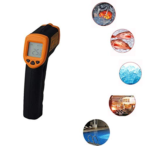 Infrared Thermometer IR Laser Thermometer Non-Contact Digital Temperature Gun -32°C~380°C (-26°F~608°F) Instant Read with Auto Shut-off Data Hold Function, LCD Backlight Display, Battery Included. by Junboys
