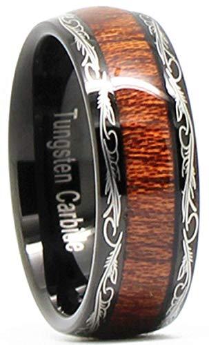 VIVI&JOE Mens Wedding Band 8mm Black Tungsten Couple Dome Rings Koa Wood Inlay Pattern for Lovers Size 9 by VIVI&JOE
