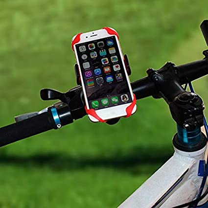 leonBonnie Universal Bike Phone Holder With Silicone Band Bike Handlebar Mount Holder 360/°Rotation Support Bracket For GPS Devices