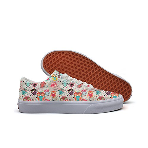 Colorful Owls On Cream Women's Casual Shoes Flat Cool Cute Original by SERXO