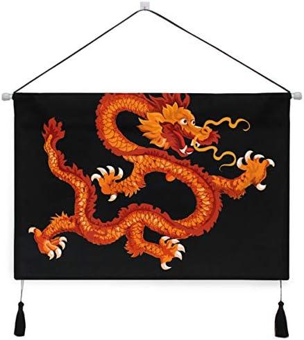 ゴールデンフライングドラゴンぶら下げ絵画 壁アート 吊りキャンバス 印刷 絵画 アートワーク 写真 ホーム用