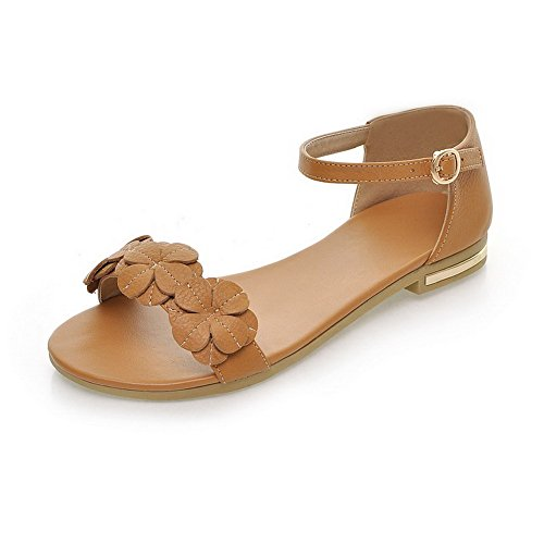 AmoonyFashion Womens Soft Material Low-Heels Buckle Open Toe Sandals with Floriation Brown