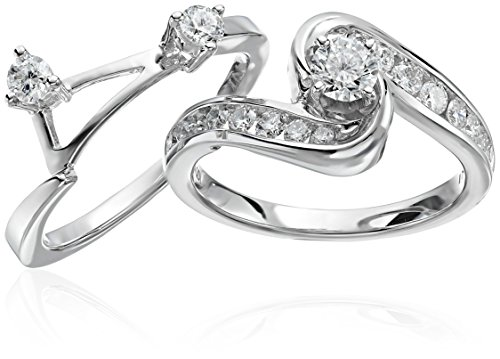 Interlocking Wedding Rings.Igi Certified 14k White Gold And Diamond Interlocking Bypass Bridal Wedding Ring Set 1 Cttw Hi Color I1 I2 Clarity